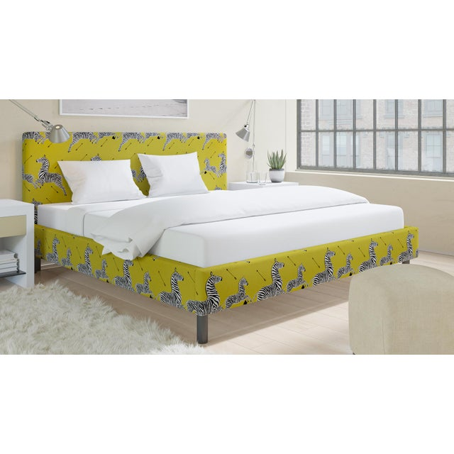 The Inside King Tailored Platform Bed in Yellow Zebra By Scalamandre For Sale - Image 4 of 6