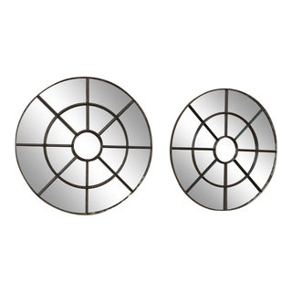 Pair Antique Industrial Round Iron Mirrors For Sale