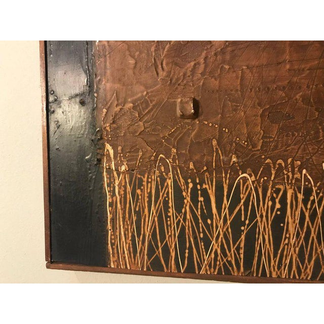 Oil Paint MCM Fine Abstract Oil on Board Signed by Michels Dated 1961, 'Copper Bleeding' For Sale - Image 7 of 11