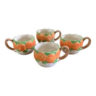 Vintage 1990 Fitz and Floyd Orange Fruit Mugs- Set of 4 For Sale