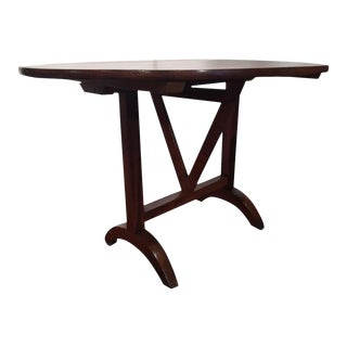 19th Century French Oval Walnut Tilt-Top Wine Tasting Table For Sale