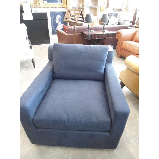Restoration Hardware Upholstered Navy Armchair - Image 4 of 5