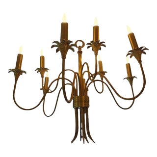 1960's Vintage Italian Stilnovo Attributed Nine Light Brass Chandelier For Sale