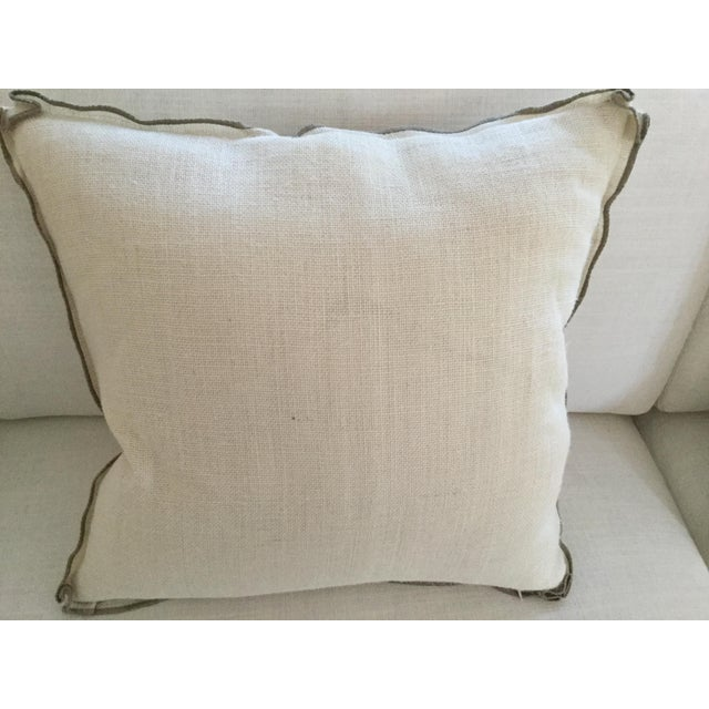 "Ethan Allen ""Hers"" Burlap Pillow - Image 3 of 3"