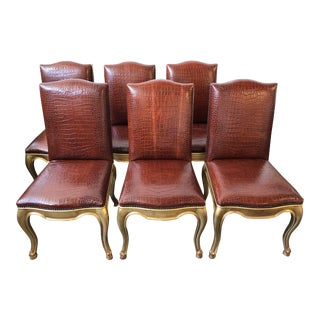 Ralph Lauren Home Gilt and Leather Duke Dining Chairs - Set of 6 For Sale
