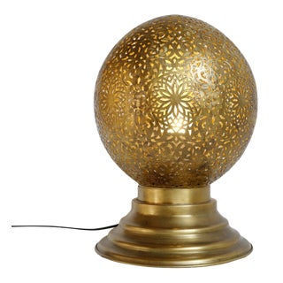 Moroccan Brass Globe Table Lamp For Sale