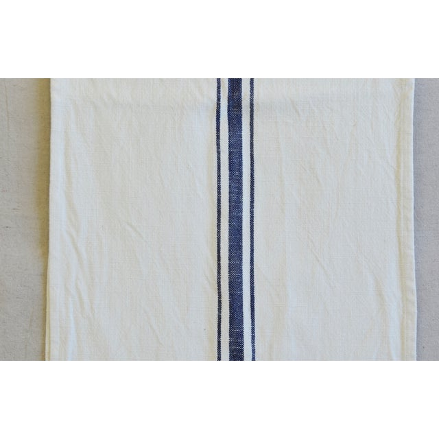 "Early 21st Century French Country Farmhouse White & Blue Striped Table Runner 110"" Long For Sale - Image 5 of 8"
