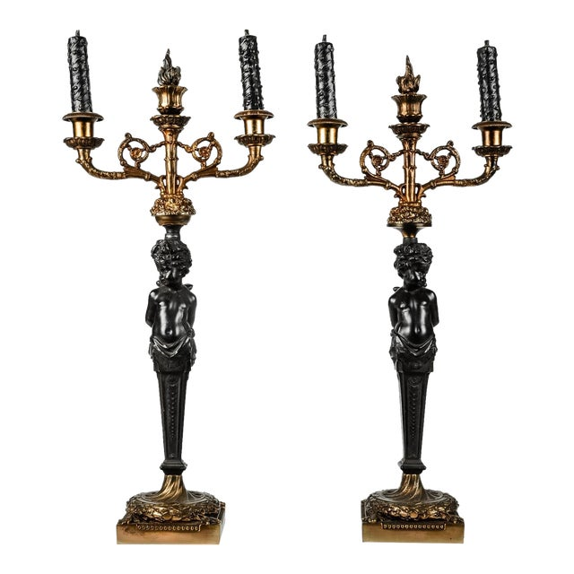 Pair of Antique French Bronze Candelabras For Sale