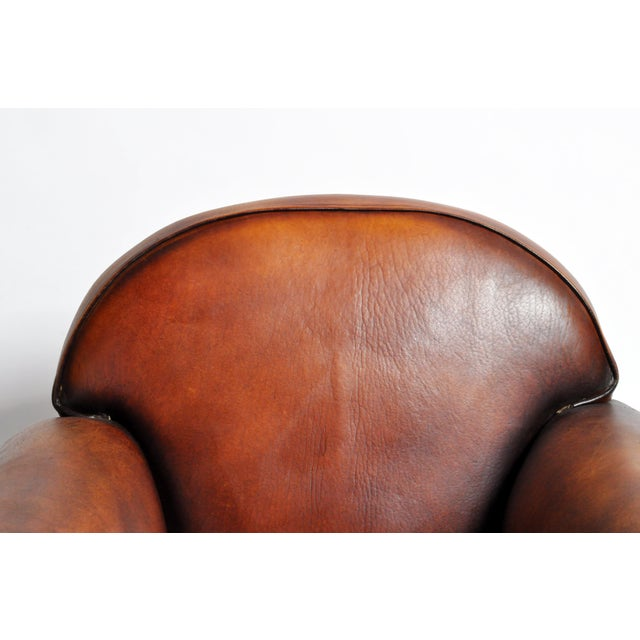 Brown 1960s Vintage French Brown Leather Armchairs - a Pair For Sale - Image 8 of 13