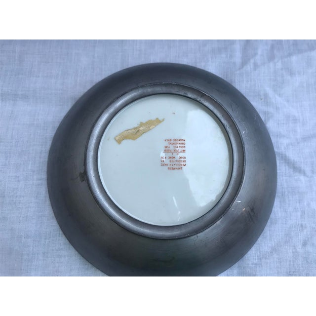 Red Vintage Japanese Decorative Metal and Ceramic Bowl & Stand For Sale - Image 8 of 11