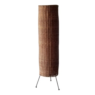Mid-Century Modern Rewired Woven Wicker Pillar Dimmable Floor Lamp For Sale