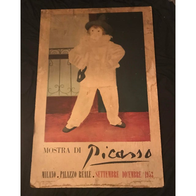 "Magnificent ""Mostra di Picasso, 1953 (for Palazzo Reale, Milano) poster; laid down on board (one piece) and unframed,..."