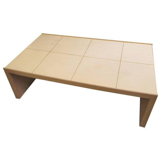 Gold Oversized Cerused Oak and Brass Inlaid Coffee Table For Sale - Image 8 of 8