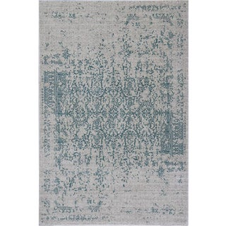 "Distressed Teal Turkish Rug - 6'8"" x 10'"