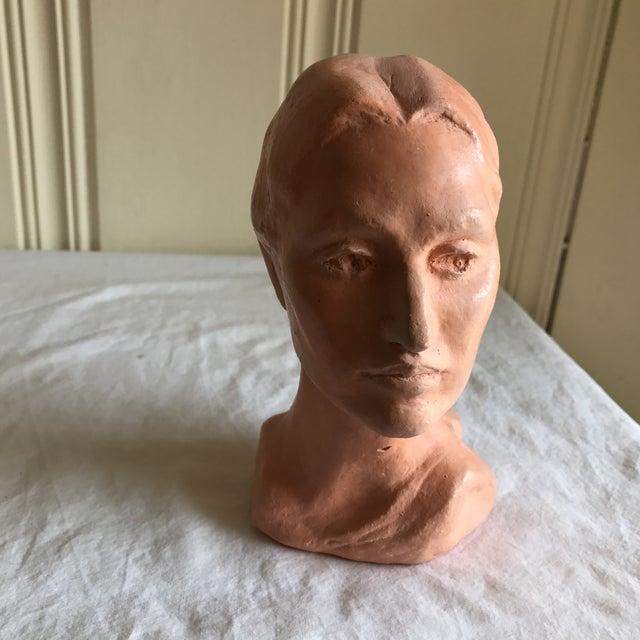 Portraiture Vintage Artisan Sculpted Female Head Bust For Sale - Image 3 of 11