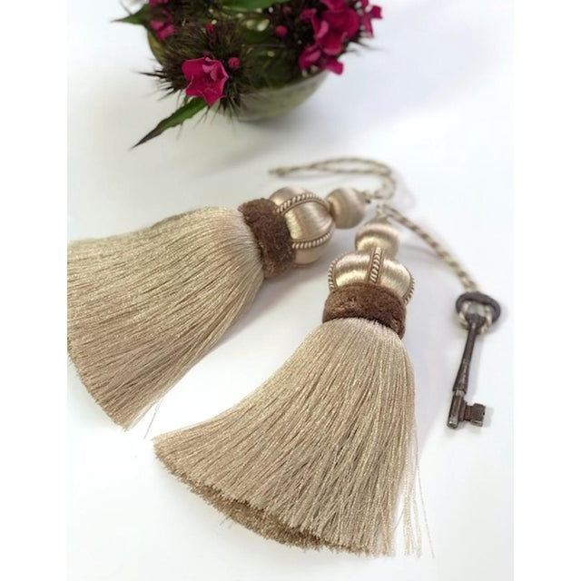 Taupe Key Tassel With Cut Velvet Ruche - a Pair For Sale - Image 4 of 10