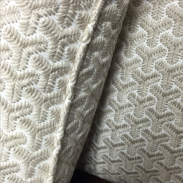 Gray Geometric Embroidered Throw Pillows - A Pair For Sale - Image 4 of 5