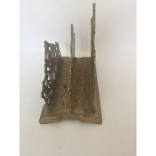 English Traditional Decorative Brass Ornate Letter Holder For Sale - Image 3 of 5