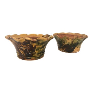 1950s French Antique Provence Drip Glazed Terra Cotta Planters, A - a Pair For Sale