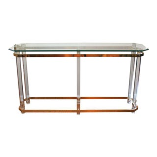 Charles Hollis Jones Lucite & Brass Console