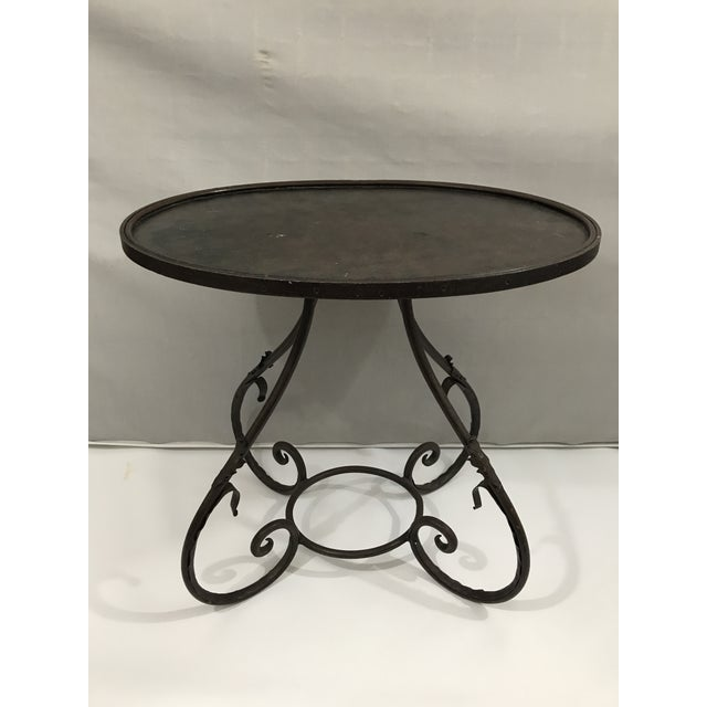 Boho Chic Oval Metal Side Table For Sale - Image 3 of 9