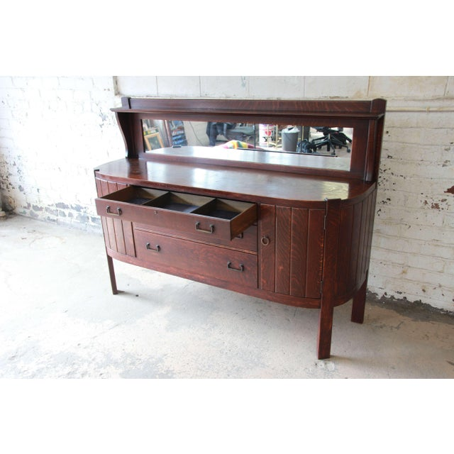 Antique Mission Oak Sideboard by Grand Rapids Chair Co., Circa 1910 For Sale In South Bend - Image 6 of 12