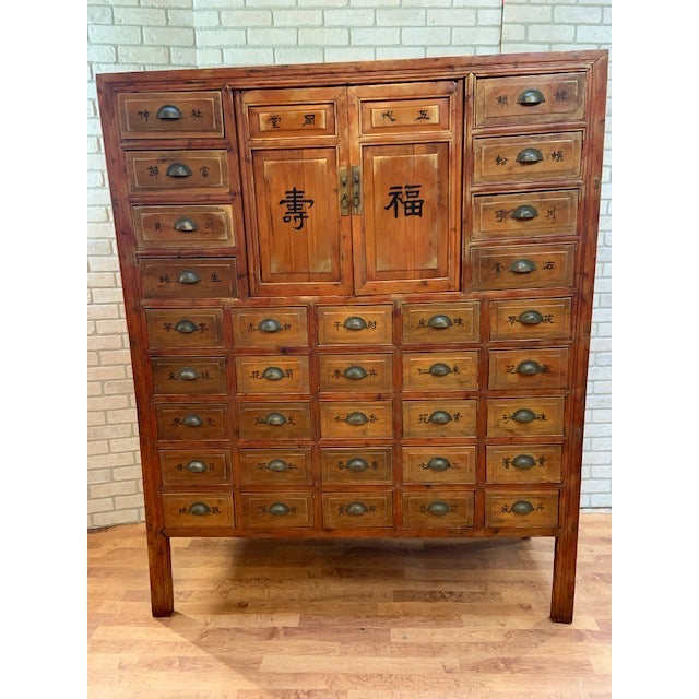 Antique Authentic Asian Multi Drawer Medicine Cabinet For Sale - Image 11 of 11