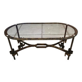 1950s Spanish Brutalist Gothic Gilt-Iron Glass Top Coffee Table For Sale