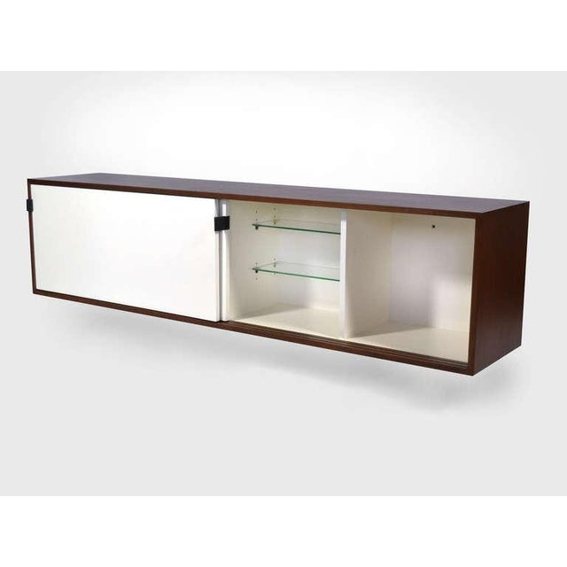 Knoll Pair of Florence Knoll Walnut Wall Mounted Credenzas or Cabinets For Sale - Image 4 of 10