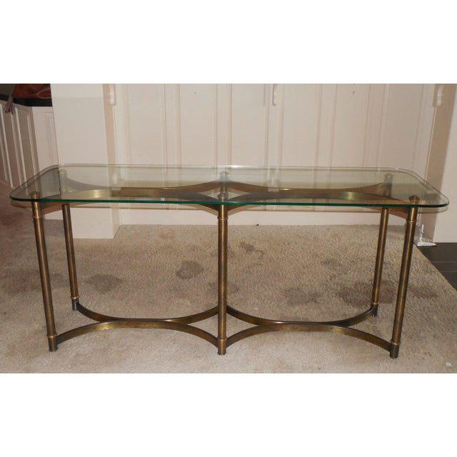 Brass Billy Baldwin Style Patinated Brass and Glass Console C. 1970 For Sale - Image 7 of 7