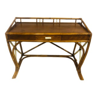 Mid Century Rattan Desk With Lacquer Accents For Sale