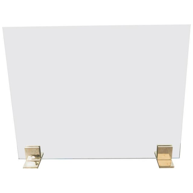 Custom Modern Fire Screen in Polished Brass and Tempered Glass For Sale - Image 10 of 10