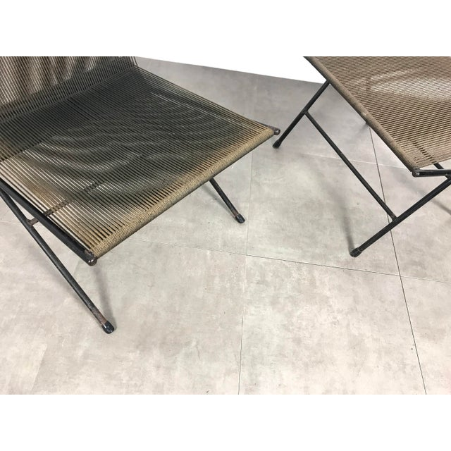 Iron Allan Gould String Lounge Chair & Ottoman 1952 For Sale - Image 7 of 11