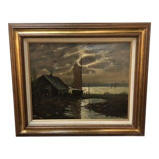 Antique European Painting of Seascape For Sale