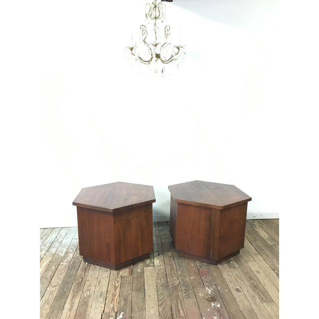 Mid-Century Modern Mid-Century Lane Hexagon Walnut Side Tables - a Pair For Sale - Image 3 of 10