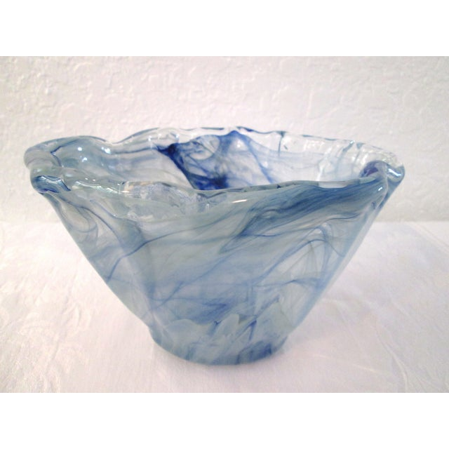 Gorgeous Italian Murano art glass bowl / vase featuring varying Sea-blue swirls throughout. Original label underside...