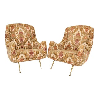 1950s Lounge Club Chairs on Flaired Brass Legs - a Pair For Sale