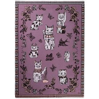 Les Chats Du Bonheur Rose Cashmere Blanket, 51' X 71' For Sale