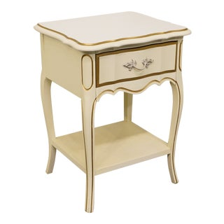 Dixie Furniture Teenette II Collection French Provincial White and Gold Nightstand For Sale