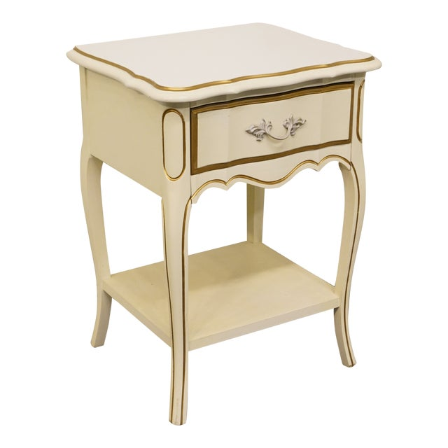 dixie furniture teenette ii collection french provincial white and gold nightstand chairish. Black Bedroom Furniture Sets. Home Design Ideas
