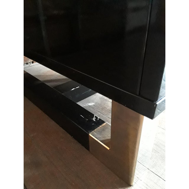 Black Lacquered Desk With Blue Glass Top For Sale - Image 4 of 7