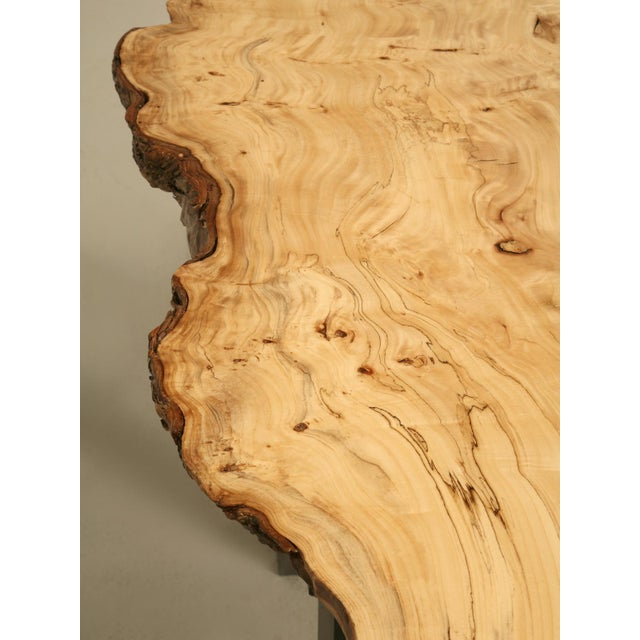 French Burl Elm Slab Dining Table, or Desk For Sale - Image 9 of 11