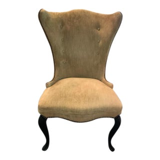 Mid-Century Chartreuse Velvet Wing Chair For Sale
