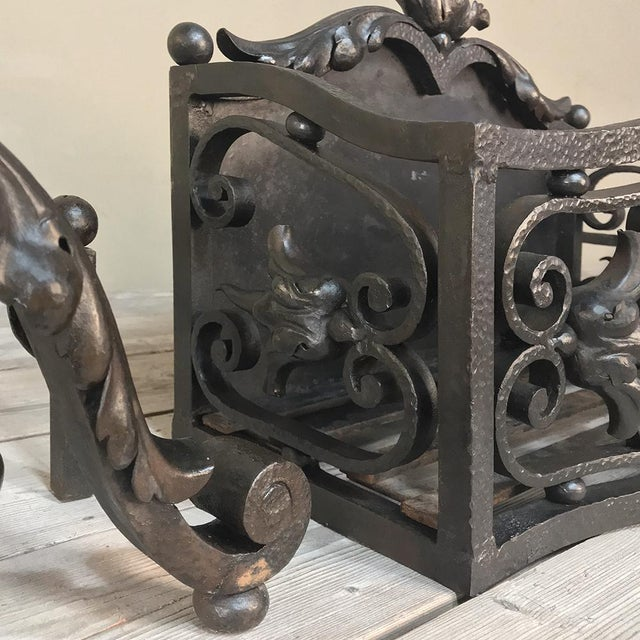 Gray 19th Century Wrought Iron Andiron & Firebox Set For Sale - Image 8 of 12