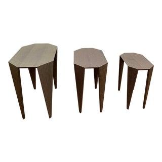 Lauren Rottet for Decca Home Ash Grey Oak Veneer Nesting Tables - Set of 3 For Sale