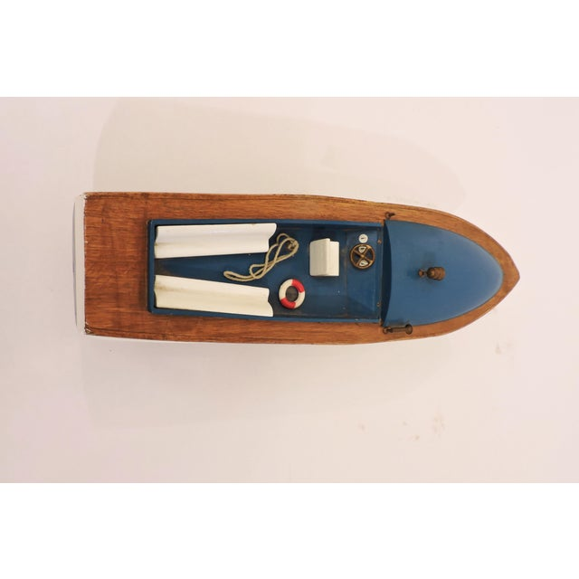 Late 20th Century Blue Wooden Model Pleasure Boat For Sale - Image 5 of 7