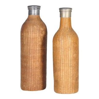 Vintage Set of Two Round English Wicker Bottles For Sale