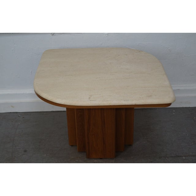 Danish Modern Teak & Travertine Coffee Table - Image 2 of 9