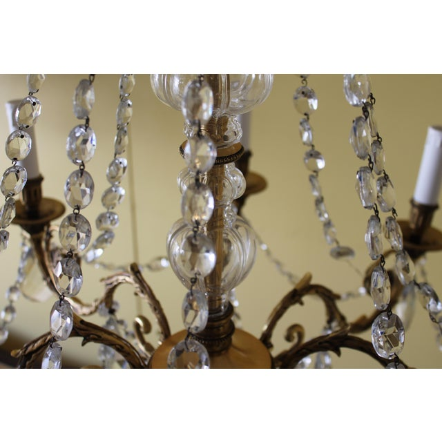 19th Century Maison Bagues Palm Motif Eight Light Crystal & Bronze Chandelier = Neoclassical Style For Sale In Miami - Image 6 of 13