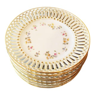 Gold Punched Dessert Plates - Set of 8 For Sale